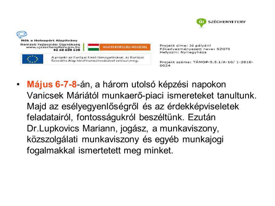 Május 6-7-8-án, a három utolsó képzési napokon Vanicsek Máriától munkaerő-piaci ismereteket tanultunk.