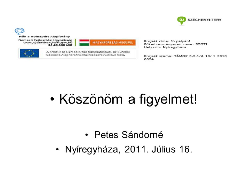 Köszönöm a figyelmet! Petes Sándorné Nyíregyháza, 2011. Július 16.
