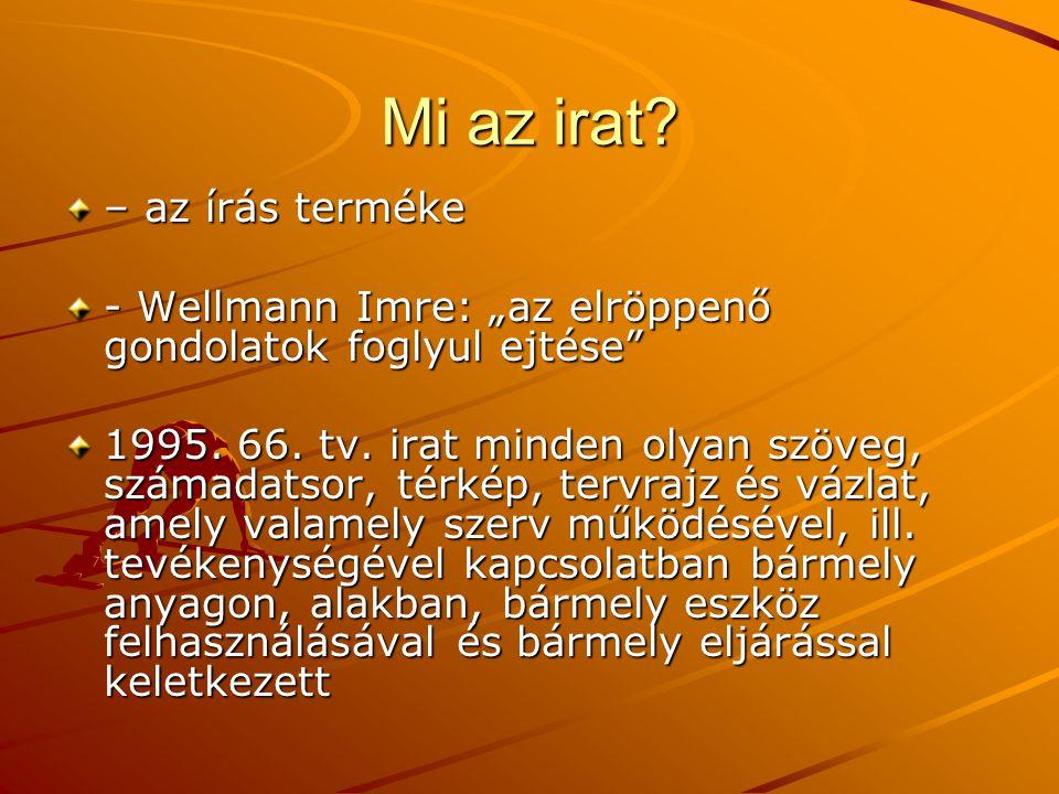 """Mi az irat.– az írás terméke - Wellmann Imre: """"az elröppenő gondolatok foglyul ejtése 1995."""
