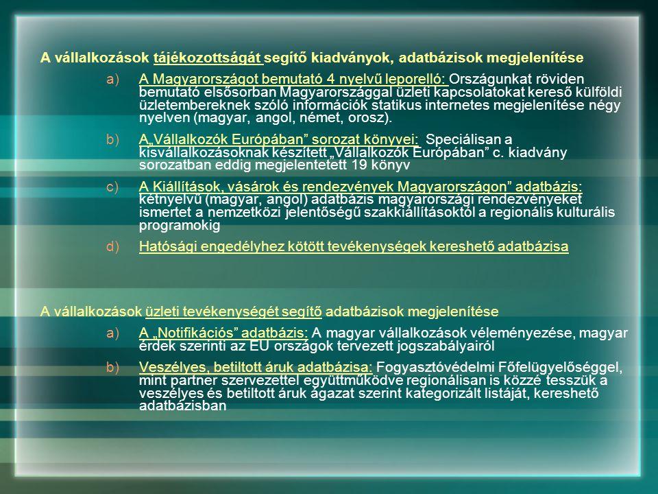 A vállalkozások tájékozottságát segítő kiadványok, adatbázisok megjelenítése a)A Magyarországot bemutató 4 nyelvű leporelló: Országunkat röviden bemutató elsősorban Magyarországgal üzleti kapcsolatokat kereső külföldi üzletembereknek szóló információk statikus internetes megjelenítése négy nyelven (magyar, angol, német, orosz).