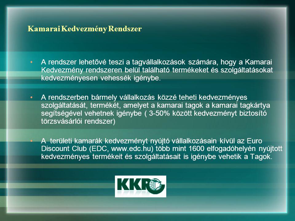 Kamarai Kedvezmény Rendszer A rendszer lehetővé teszi a tagvállalkozások számára, hogy a Kamarai Kedvezmény rendszeren belül található termékeket és szolgáltatásokat kedvezményesen vehessék igénybe.