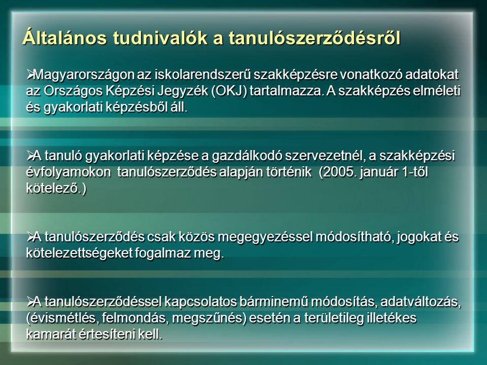 Általános tudnivalók a tanulószerződésről  Magyarországon az iskolarendszerű szakképzésre vonatkozó adatokat az Országos Képzési Jegyzék (OKJ) tartalmazza.