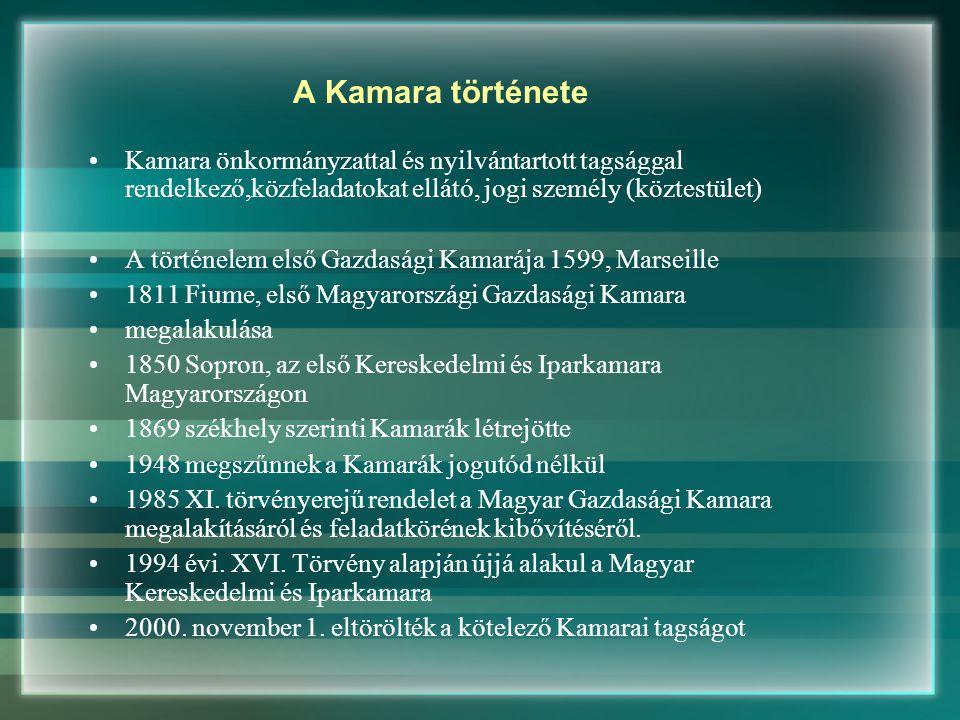 A Kamara története Kamara önkormányzattal és nyilvántartott tagsággal rendelkező,közfeladatokat ellátó, jogi személy (köztestület) A történelem első Gazdasági Kamarája 1599, Marseille 1811 Fiume, első Magyarországi Gazdasági Kamara megalakulása 1850 Sopron, az első Kereskedelmi és Iparkamara Magyarországon 1869 székhely szerinti Kamarák létrejötte 1948 megszűnnek a Kamarák jogutód nélkül 1985 XI.