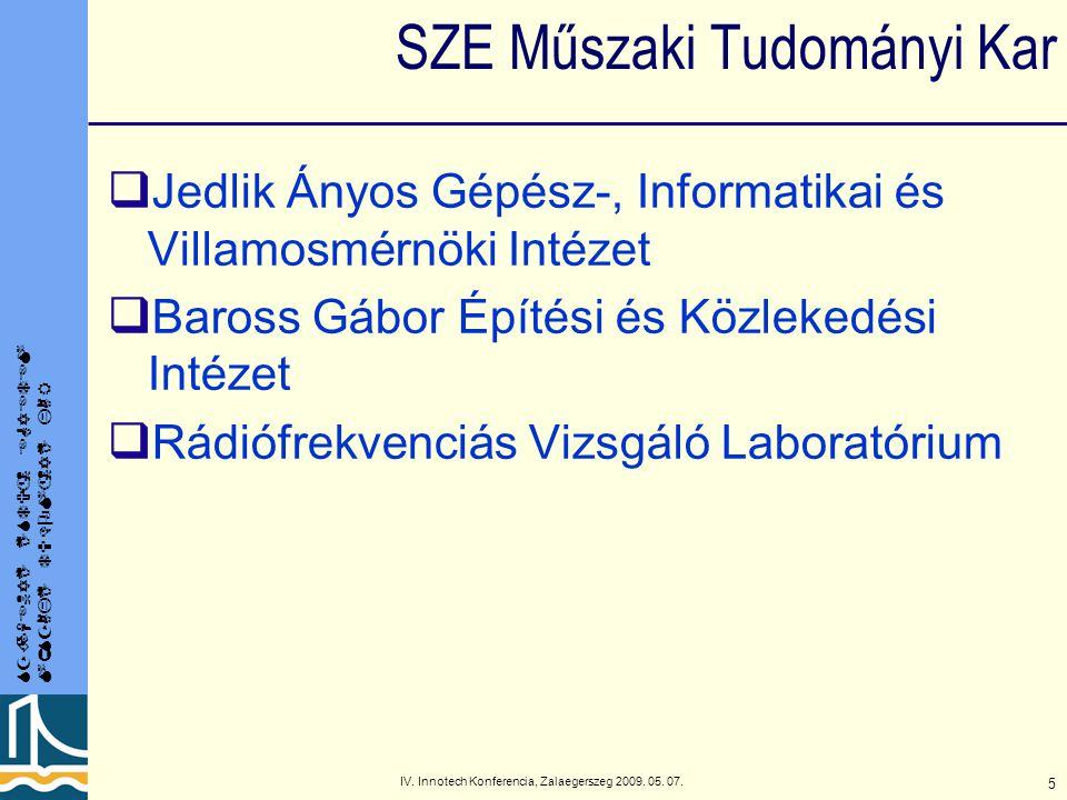 SZÉCHENYI ISTVÁN EGYETEM MŰSZAKI TUDOMÁNYI KAR IV.