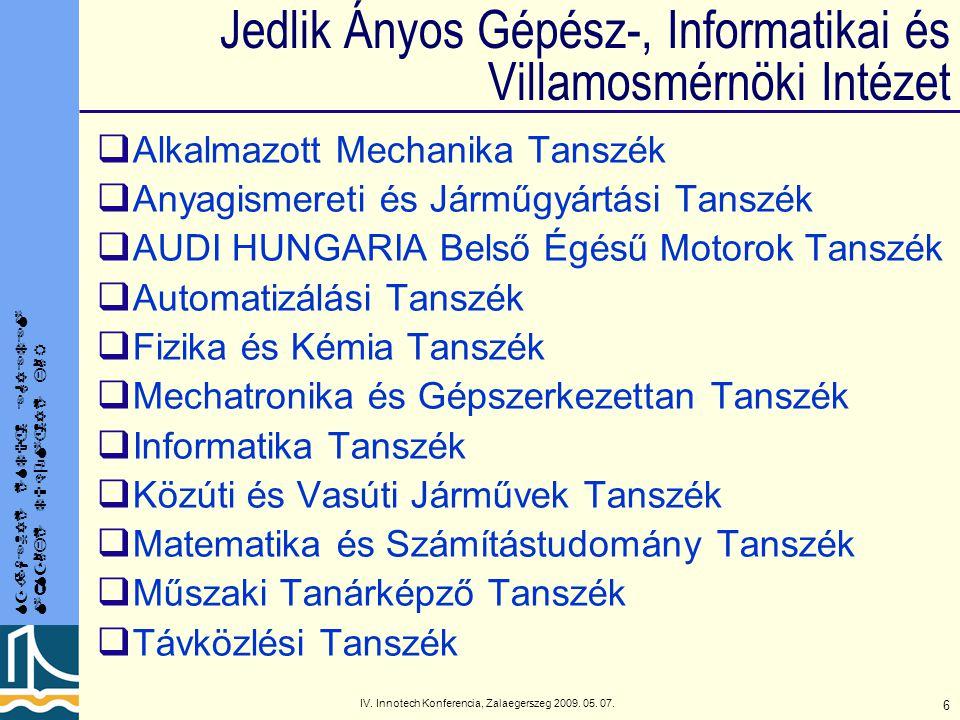 SZÉCHENYI ISTVÁN EGYETEM MŰSZAKI TUDOMÁNYI KAR IV. Innotech Konferencia, Zalaegerszeg 2009. 05. 07. 6 Jedlik Ányos Gépész-, Informatikai és Villamosmé