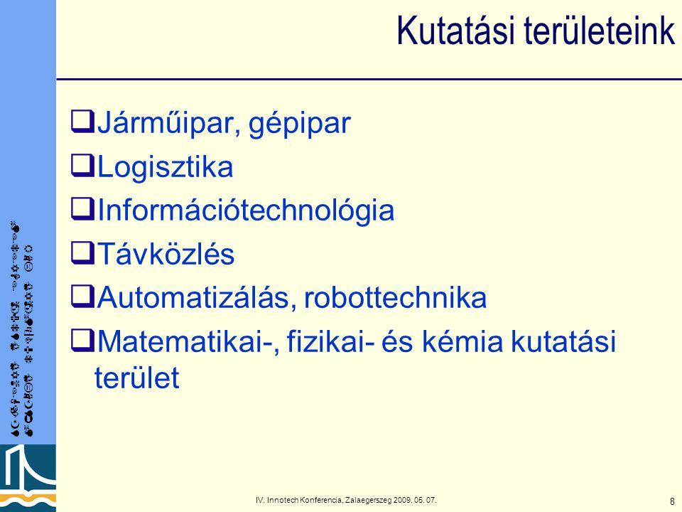 SZÉCHENYI ISTVÁN EGYETEM MŰSZAKI TUDOMÁNYI KAR IV. Innotech Konferencia, Zalaegerszeg 2009. 05. 07. 8 Kutatási területeink  Járműipar, gépipar  Logi