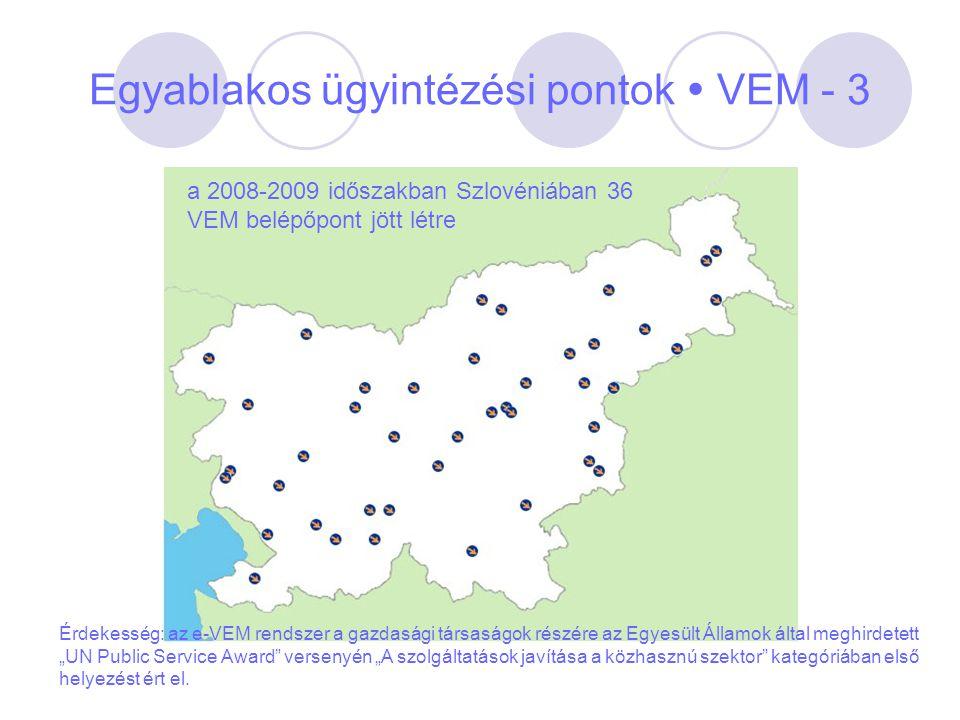 Egyablakos ügyintézési pontok  VEM - 3 a 2008-2009 időszakban Szlovéniában 36 VEM belépőpont jött létre Érdekesség: az e-VEM rendszer a gazdasági tár