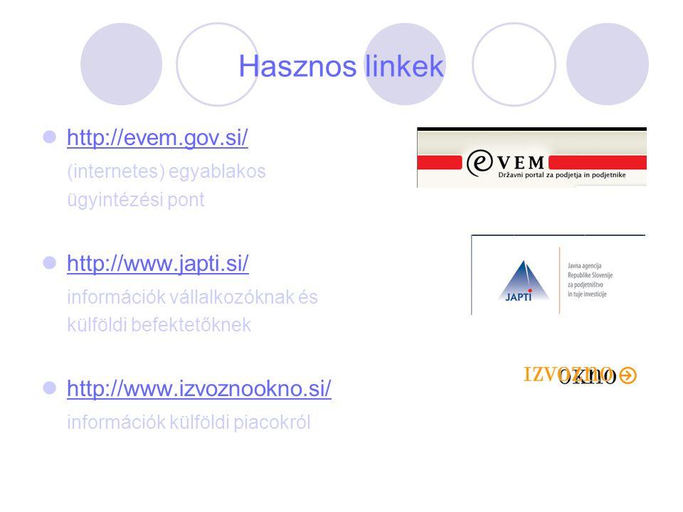 Hasznos linkek http://evem.gov.si/ (internetes) egyablakos ügyintézési pont http://www.japti.si/ információk vállalkozóknak és külföldi befektetőknek