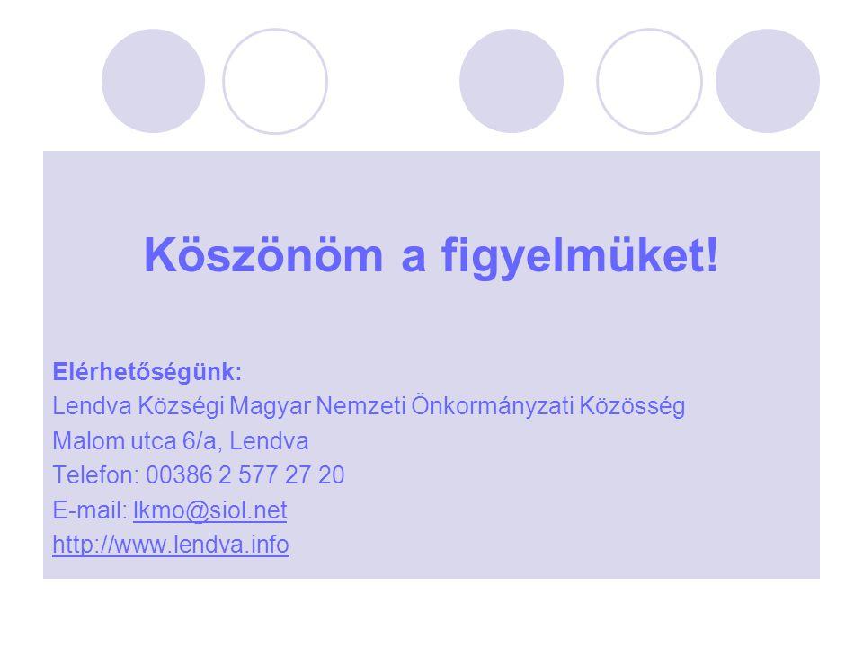 Köszönöm a figyelmüket! Elérhetőségünk: Lendva Községi Magyar Nemzeti Önkormányzati Közösség Malom utca 6/a, Lendva Telefon: 00386 2 577 27 20 E-mail: