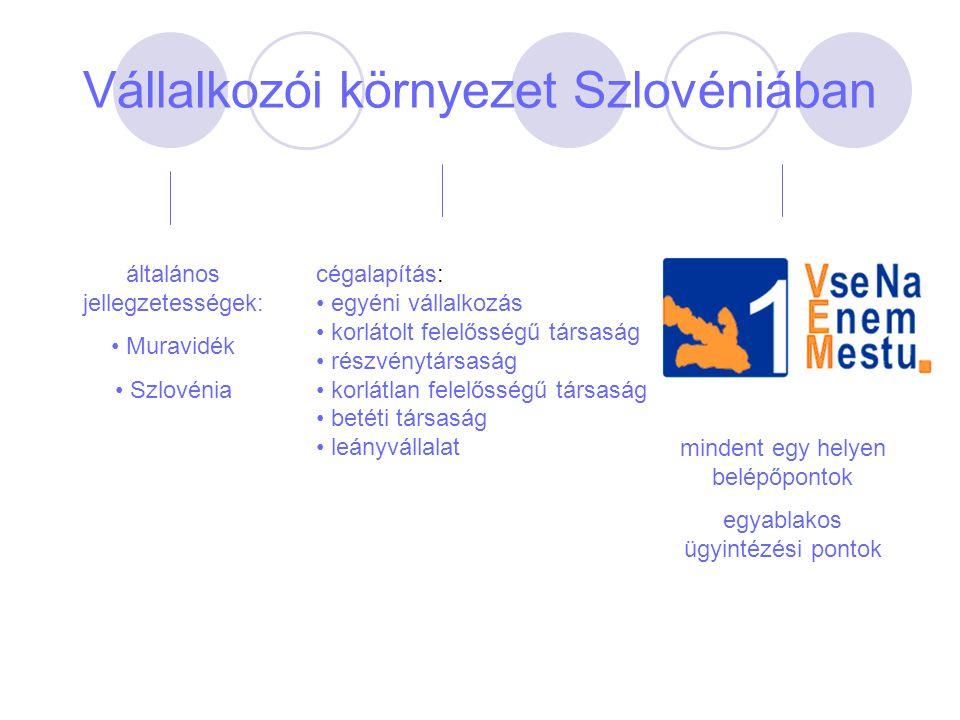 Vállalkozói környezet Szlovéniában általános jellegzetességek: Muravidék Szlovénia cégalapítás: egyéni vállalkozás korlátolt felelősségű társaság rész