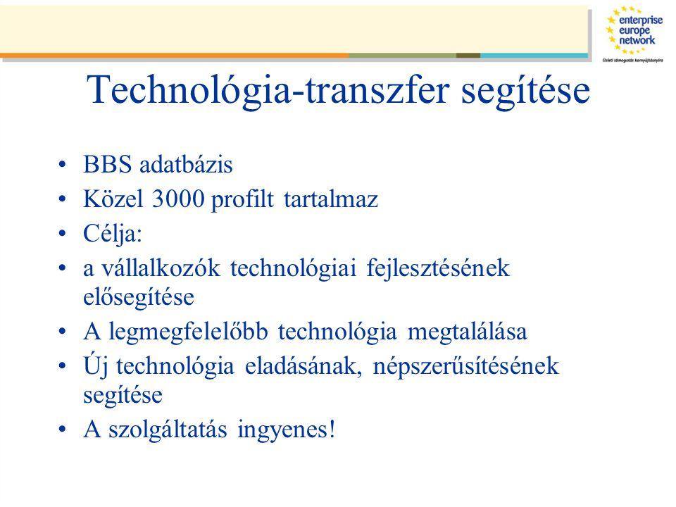 Technológia-transzfer segítése BBS adatbázis Közel 3000 profilt tartalmaz Célja: a vállalkozók technológiai fejlesztésének elősegítése A legmegfelelőbb technológia megtalálása Új technológia eladásának, népszerűsítésének segítése A szolgáltatás ingyenes!