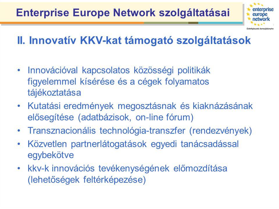 II. Innovatív KKV-kat támogató szolgáltatások Innovációval kapcsolatos közösségi politikák figyelemmel kísérése és a cégek folyamatos tájékoztatása Ku