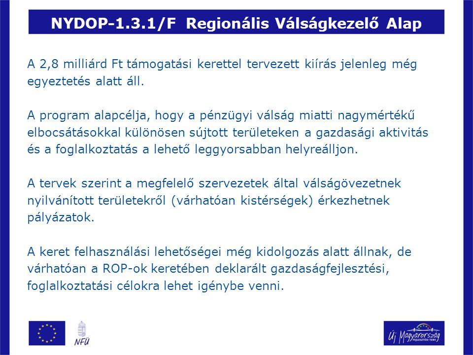 NYDOP-1.3.1/F Regionális Válságkezelő Alap A 2,8 milliárd Ft támogatási kerettel tervezett kiírás jelenleg még egyeztetés alatt áll.