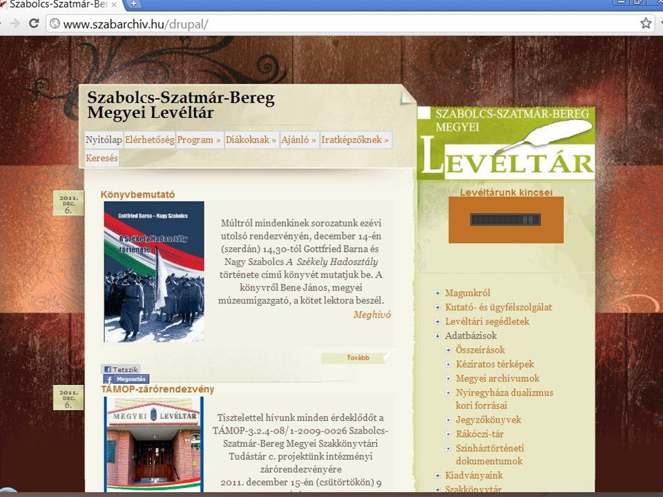 Honlapjaink és adatbázisaink Intézményi honlapunkat folyamatosan frissítjük.