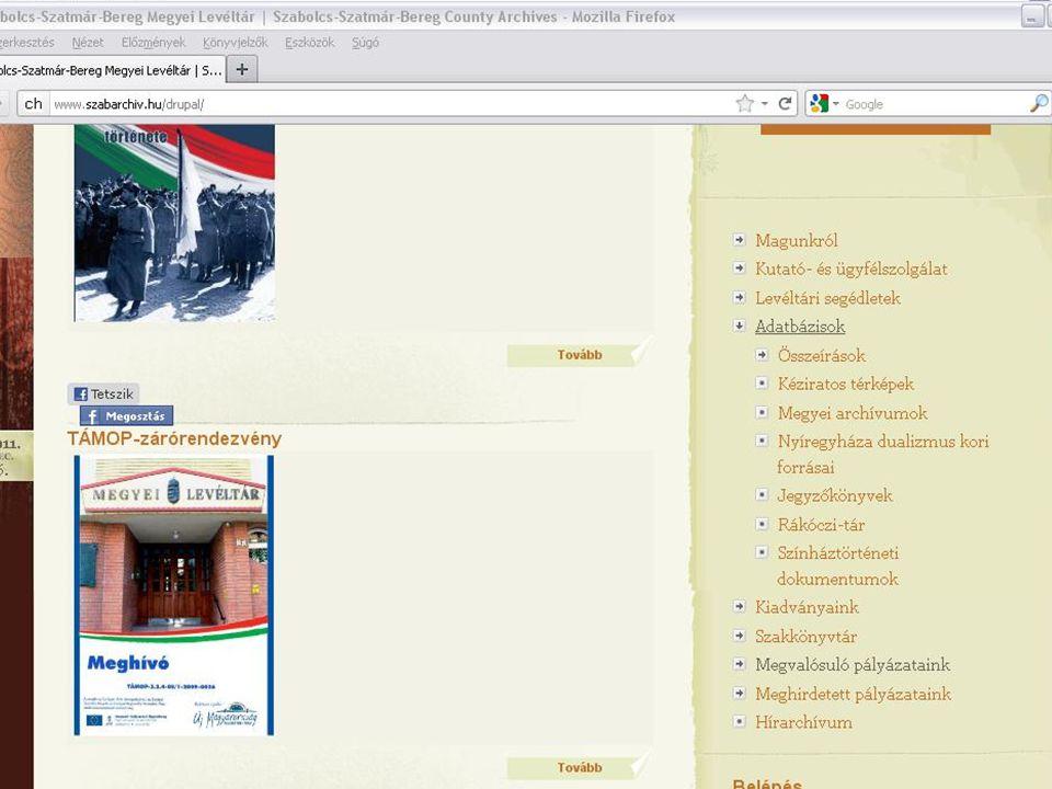 Honlapjaink és adatbázisaink http://szabarchiv.huhttp://szabarchiv.hu honlapunkon található adatbázisaik: - Összeírások, 16-18.