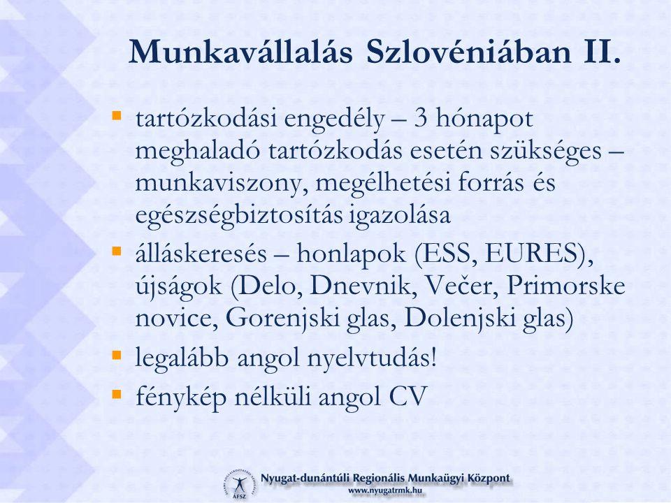 Munkavállalás Szlovéniában II.
