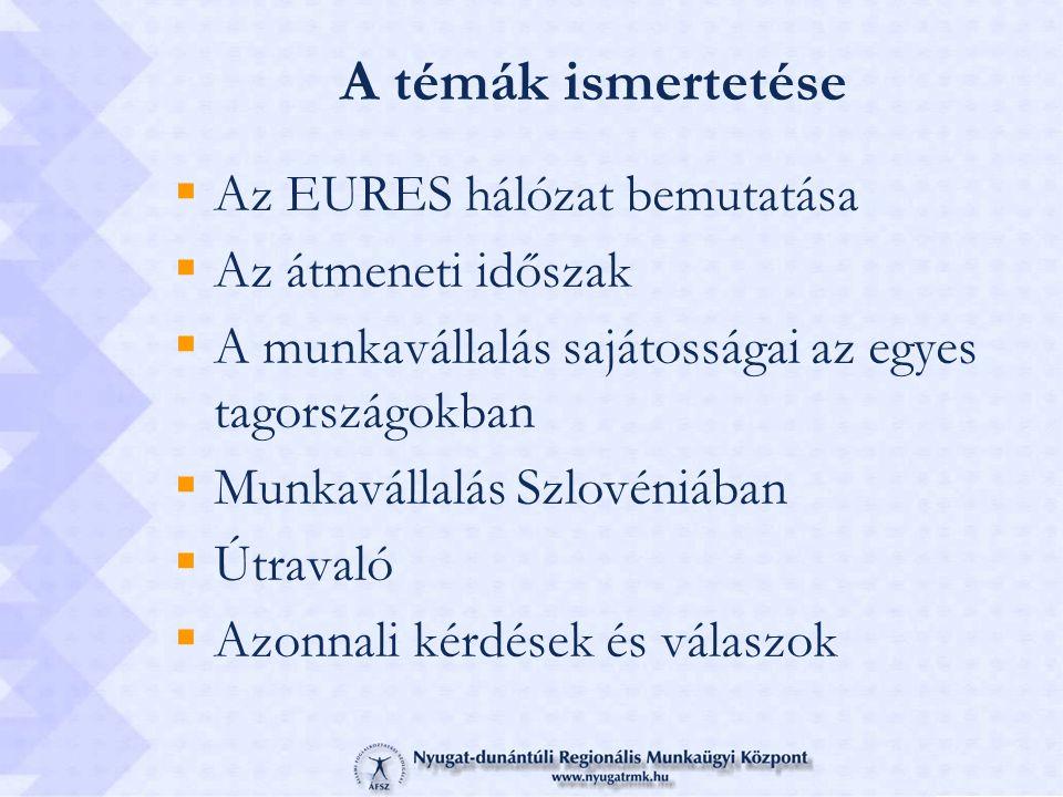 A témák ismertetése  Az EURES hálózat bemutatása  Az átmeneti időszak  A munkavállalás sajátosságai az egyes tagországokban  Munkavállalás Szlovéniában  Útravaló  Azonnali kérdések és válaszok