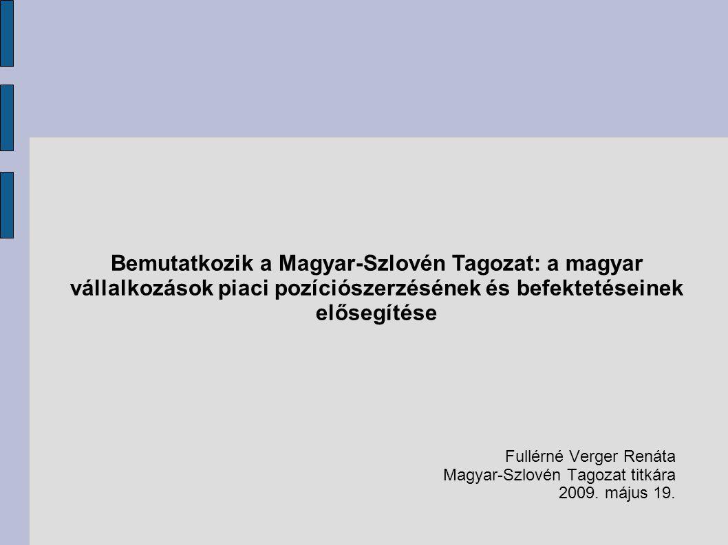 Bemutatkozik a Magyar-Szlovén Tagozat: a magyar vállalkozások piaci pozíciószerzésének és befektetéseinek elősegítése Fullérné Verger Renáta Magyar-Szlovén Tagozat titkára 2009.