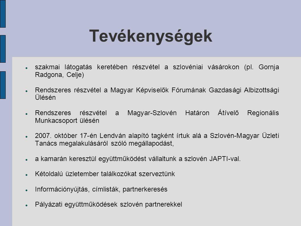 Tevékenységek szakmai látogatás keretében részvétel a szlovéniai vásárokon (pl.