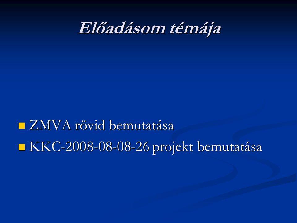 Előadásom témája ZMVA rövid bemutatása ZMVA rövid bemutatása KKC-2008-08-08-26 projekt bemutatása KKC-2008-08-08-26 projekt bemutatása