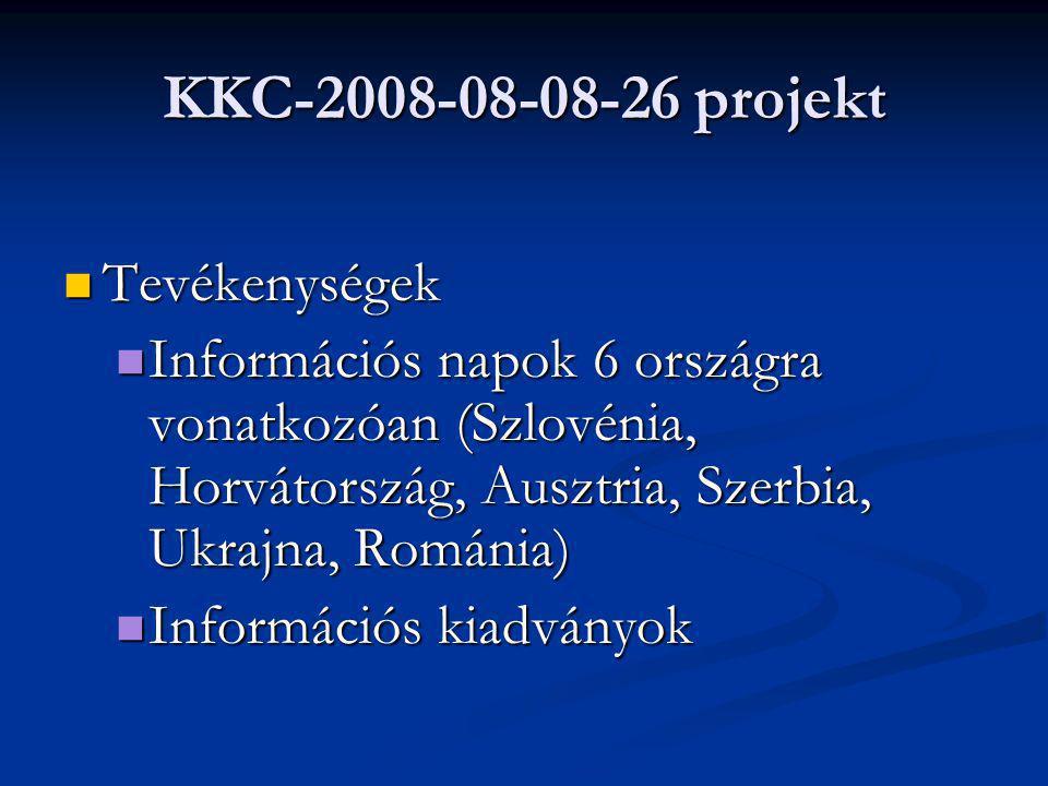 KKC-2008-08-08-26 projekt Tevékenységek Tevékenységek Információs napok 6 országra vonatkozóan (Szlovénia, Horvátország, Ausztria, Szerbia, Ukrajna, Románia) Információs napok 6 országra vonatkozóan (Szlovénia, Horvátország, Ausztria, Szerbia, Ukrajna, Románia) Információs kiadványok Információs kiadványok