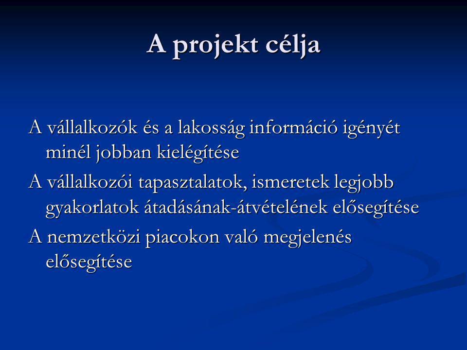 A projekt célja A vállalkozók és a lakosság információ igényét minél jobban kielégítése A vállalkozói tapasztalatok, ismeretek legjobb gyakorlatok átadásának-átvételének elősegítése A nemzetközi piacokon való megjelenés elősegítése