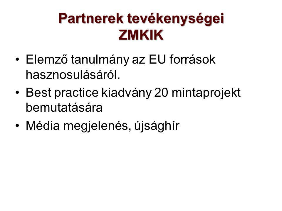 Partnerek tevékenységei ZMKIK Elemző tanulmány az EU források hasznosulásáról.