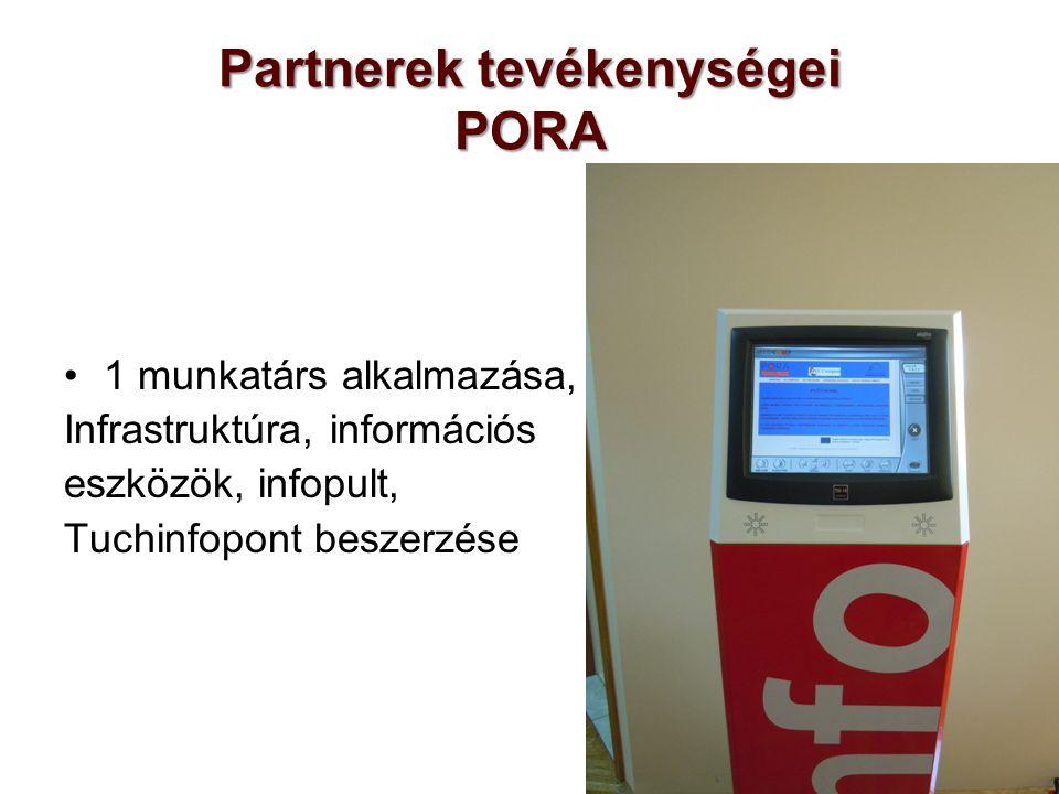 Partnerek tevékenységei PORA 1 munkatárs alkalmazása, Infrastruktúra, információs eszközök, infopult, Tuchinfopont beszerzése