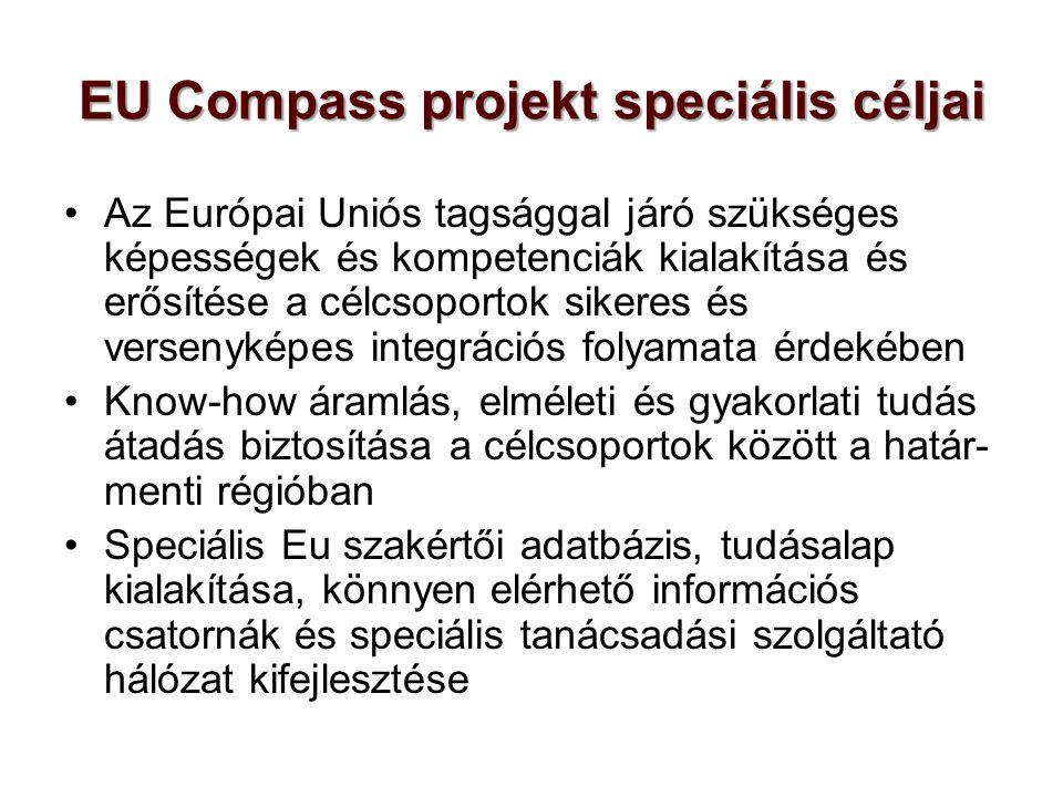 EU Compass projekt speciális céljai Az Európai Uniós tagsággal járó szükséges képességek és kompetenciák kialakítása és erősítése a célcsoportok sikeres és versenyképes integrációs folyamata érdekében Know-how áramlás, elméleti és gyakorlati tudás átadás biztosítása a célcsoportok között a határ- menti régióban Speciális Eu szakértői adatbázis, tudásalap kialakítása, könnyen elérhető információs csatornák és speciális tanácsadási szolgáltató hálózat kifejlesztése