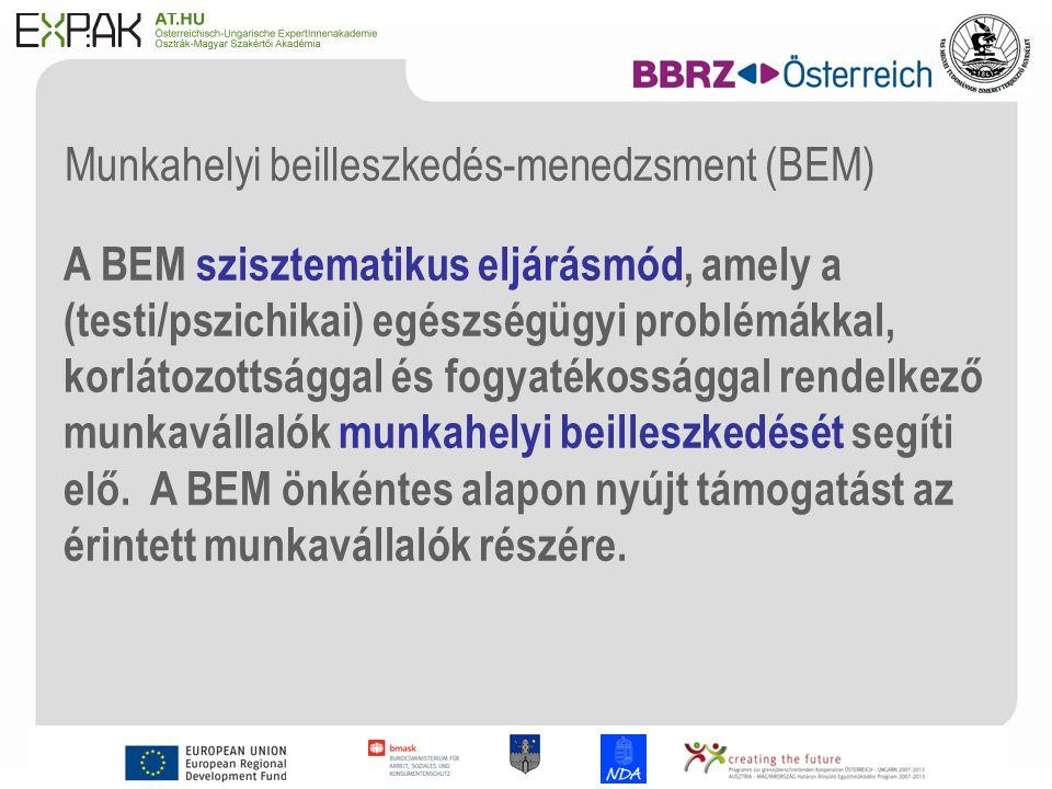 10 Munkahelyi beilleszkedés-menedzsment (BEM) A BEM szisztematikus eljárásmód, amely a (testi/pszichikai) egészségügyi problémákkal, korlátozottsággal és fogyatékossággal rendelkező munkavállalók munkahelyi beilleszkedését segíti elő.