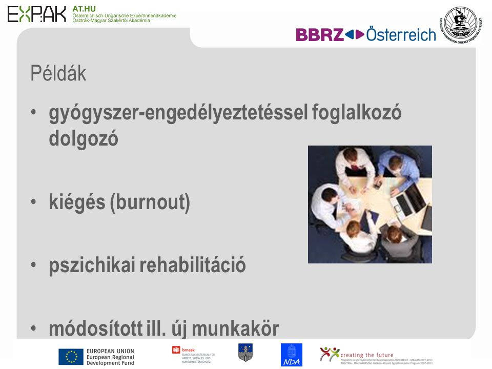 11 Példák gyógyszer-engedélyeztetéssel foglalkozó dolgozó kiégés (burnout) pszichikai rehabilitáció módosított ill.