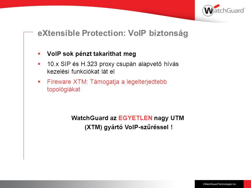 eXtensible Protection: VoIP biztonság  VoIP sok pénzt takaríthat meg  10.x SIP és H.323 proxy csupán alapvető hívás kezelési funkciókat lát el  Fireware XTM: Támogatja a legelterjedtebb topológiákat WatchGuard az EGYETLEN nagy UTM (XTM) gyártó VoIP-szűréssel !