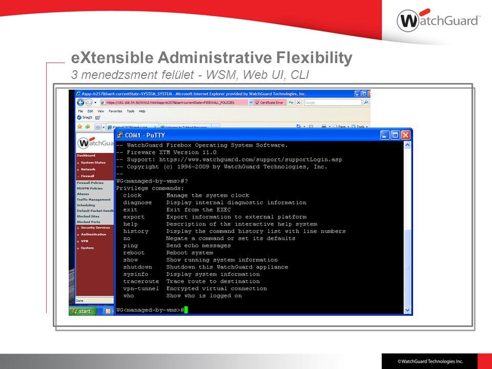eXtensible Administrative Flexibility 3 menedzsment felület - WSM, Web UI, CLI