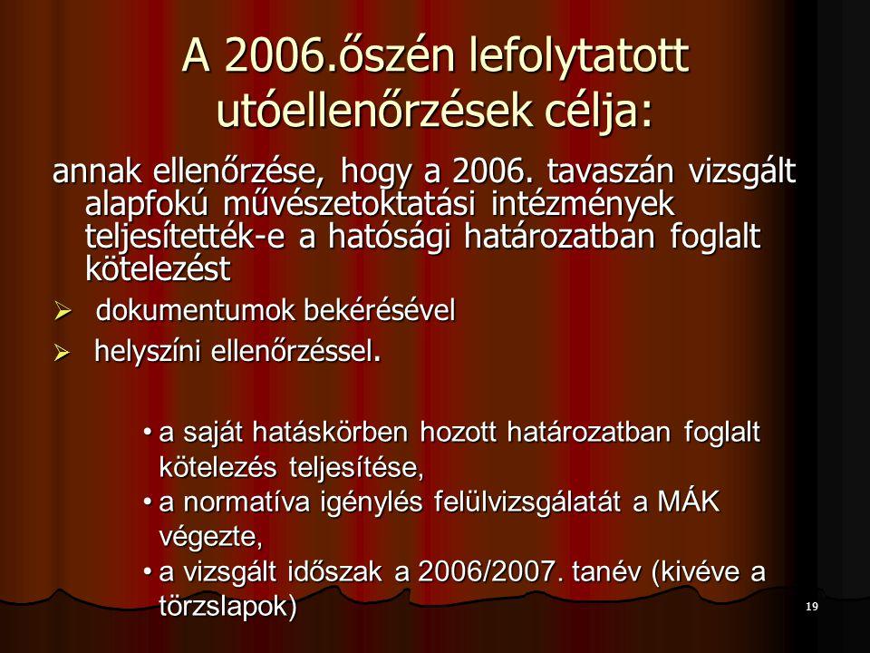 19 A 2006.őszén lefolytatott utóellenőrzések célja: annak ellenőrzése, hogy a 2006. tavaszán vizsgált alapfokú művészetoktatási intézmények teljesítet