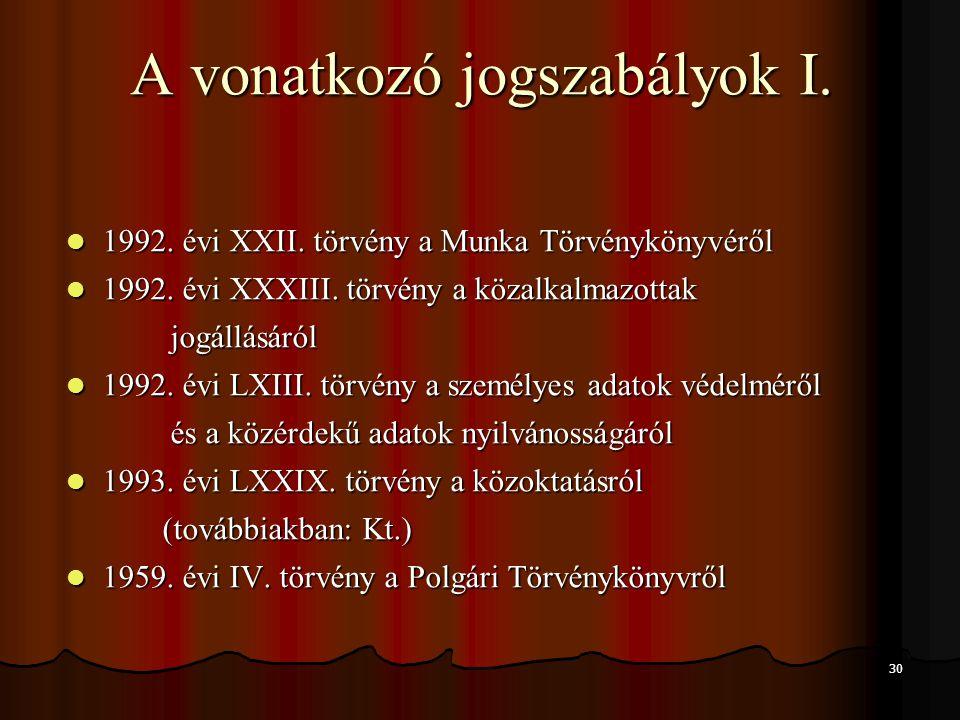 30 A vonatkozó jogszabályok I. 1992. évi XXII. törvény a Munka Törvénykönyvéről 1992. évi XXII. törvény a Munka Törvénykönyvéről 1992. évi XXXIII. tör