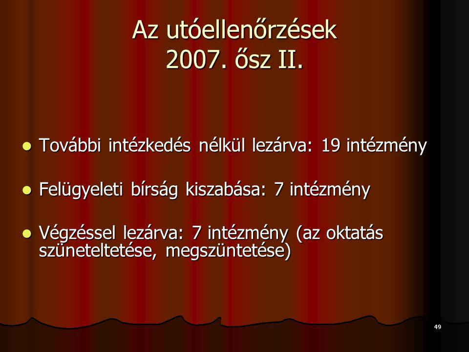 49 Az utóellenőrzések 2007. ősz II. További intézkedés nélkül lezárva: 19 intézmény További intézkedés nélkül lezárva: 19 intézmény Felügyeleti bírság