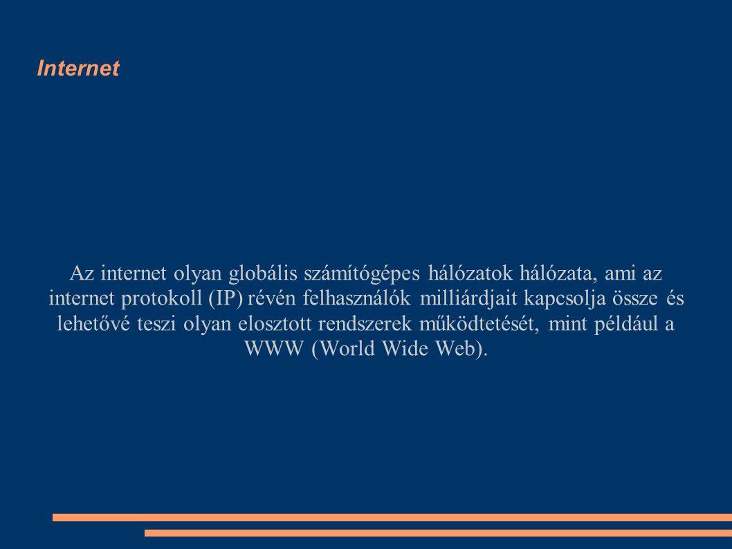 Internet Az internet olyan globális számítógépes hálózatok hálózata, ami az internet protokoll (IP) révén felhasználók milliárdjait kapcsolja össze és lehetővé teszi olyan elosztott rendszerek működtetését, mint például a WWW (World Wide Web).