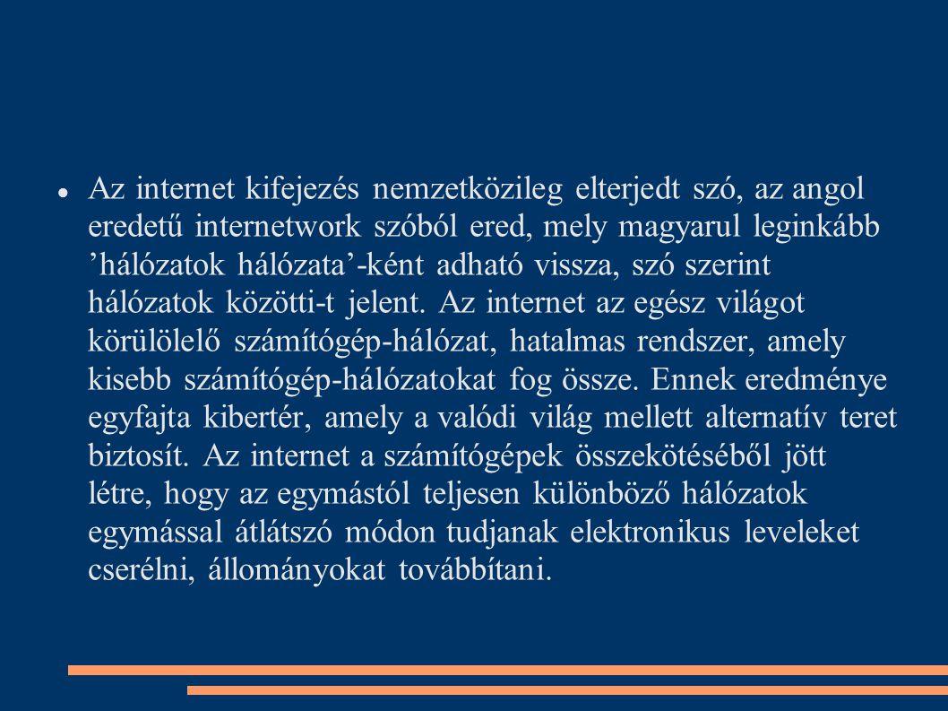 Az internet kifejezés nemzetközileg elterjedt szó, az angol eredetű internetwork szóból ered, mely magyarul leginkább 'hálózatok hálózata'-ként adható vissza, szó szerint hálózatok közötti-t jelent.