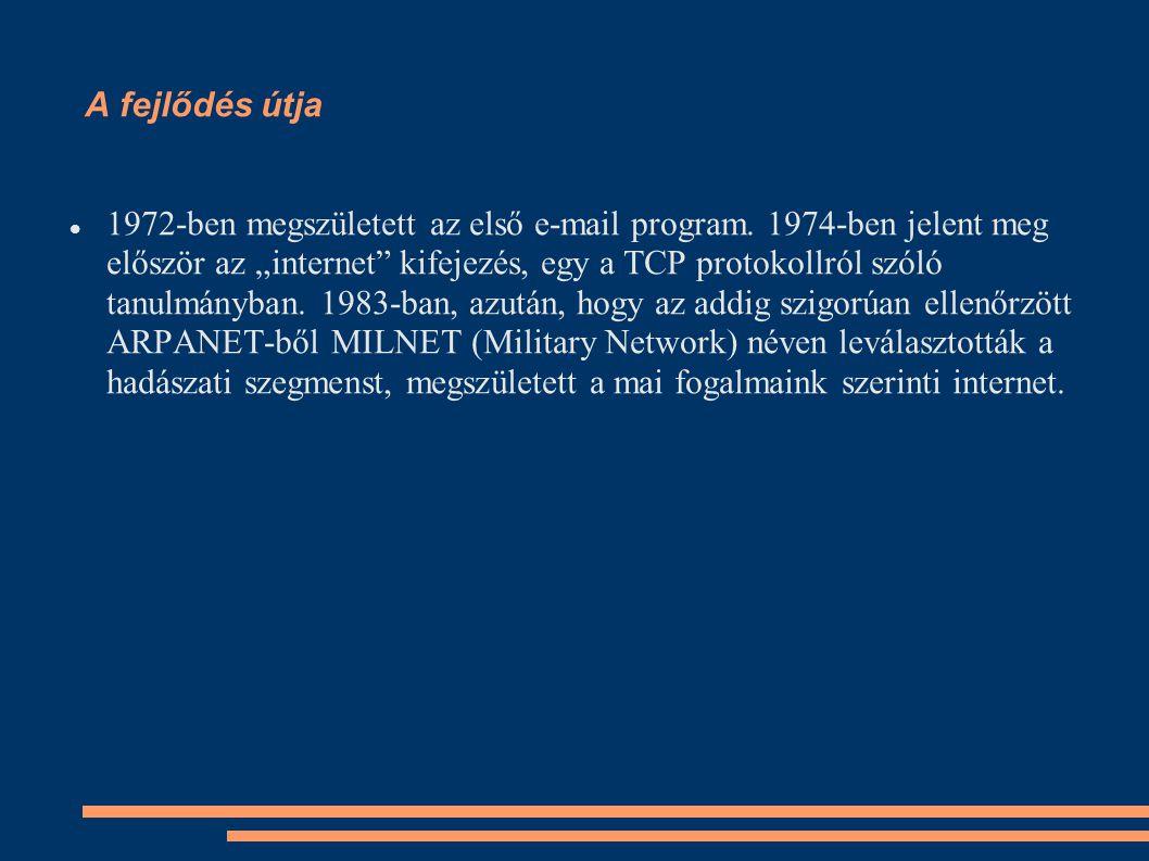A fejlődés útja 1972-ben megszületett az első e-mail program.