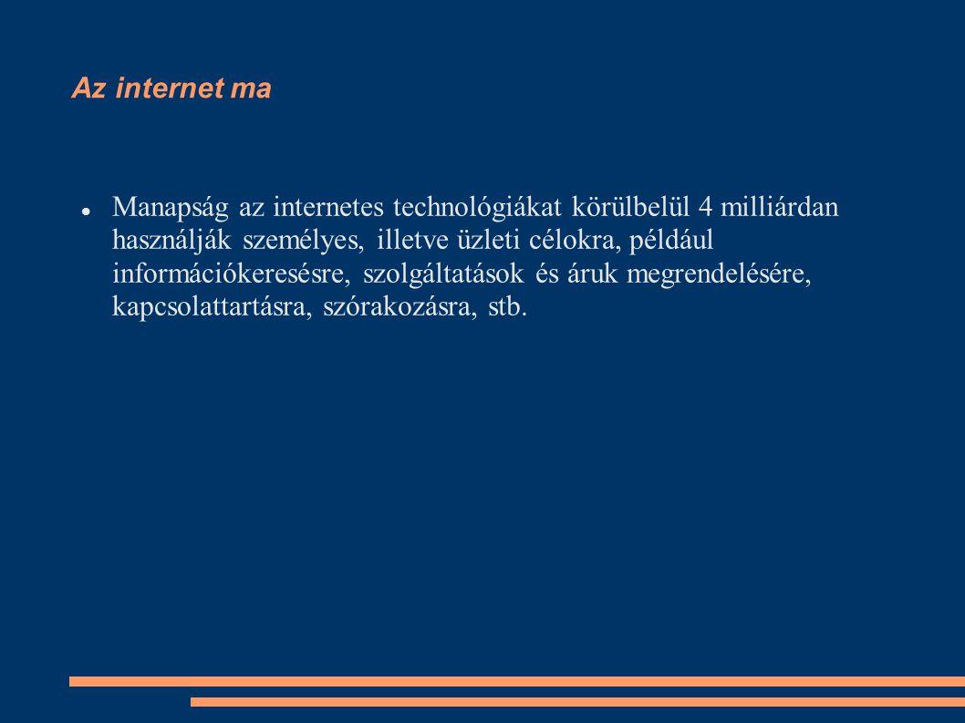 Az internet ma Manapság az internetes technológiákat körülbelül 4 milliárdan használják személyes, illetve üzleti célokra, például információkeresésre, szolgáltatások és áruk megrendelésére, kapcsolattartásra, szórakozásra, stb.