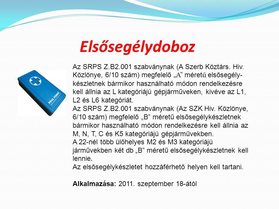 """Elsősegélydoboz Az SRPS Z.B2.001 szabványnak (A Szerb Köztárs. Hiv. Közlönye, 6/10 szám) megfelelő """"А"""" méret ű elsősegély- készletnek bármikor használ"""