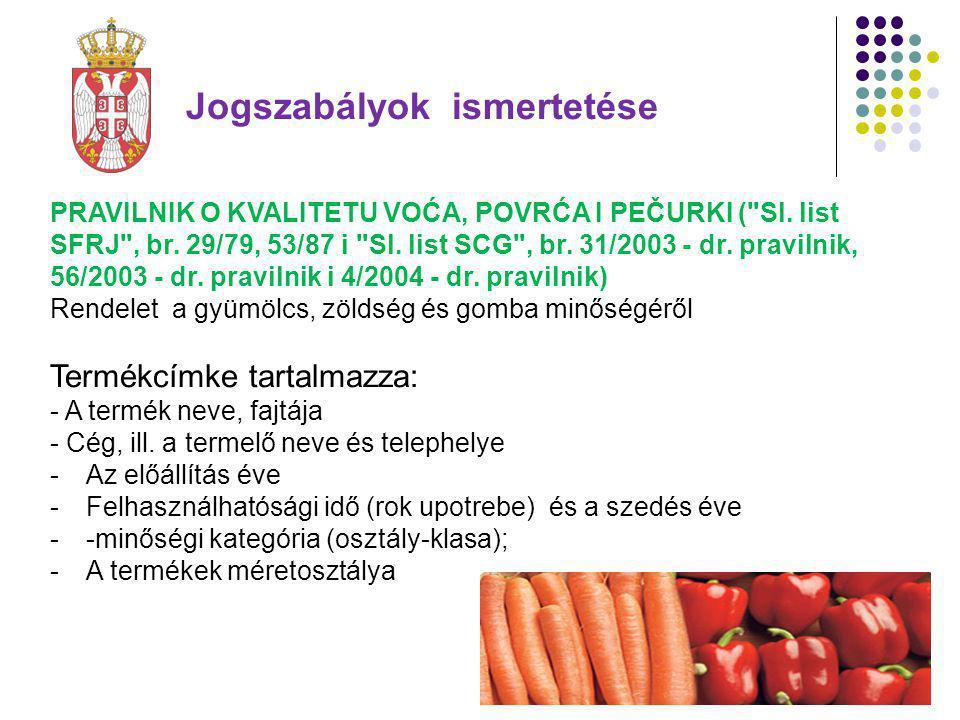 PRAVILNIK O KVALITETU VOĆA, POVRĆA I PEČURKI ( Sl.