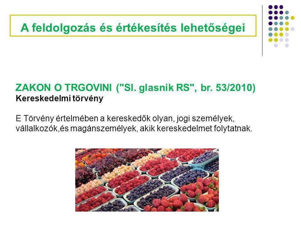 A feldolgozás és értékesítés lehetőségei ZAKON O TRGOVINI ( Sl.
