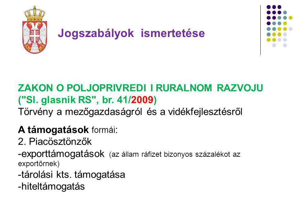 Jogszabályok ismertetése ZAKON O POLJOPRIVREDI I RURALNOM RAZVOJU ( Sl.