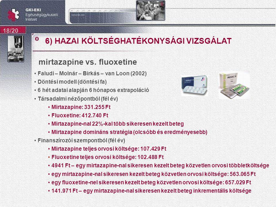 mirtazapine vs. fluoxetine 18/20 Faludi – Molnár – Birkás – van Loon (2002) Döntési modell (döntési fa) 6 hét adatai alapján 6 hónapos extrapoláció Tá