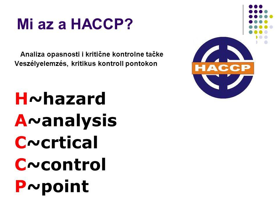 Mi az a HACCP? Analiza opasnosti i kritične kontrolne tačke Veszélyelemzés, kritikus kontroll pontokon H~hazard A~analysis C~crtical C~control P~point