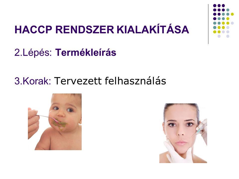 HACCP RENDSZER KIALAKÍTÁSA 2.Lépés: Termékleírás 3.Korak: Tervezett felhasználás