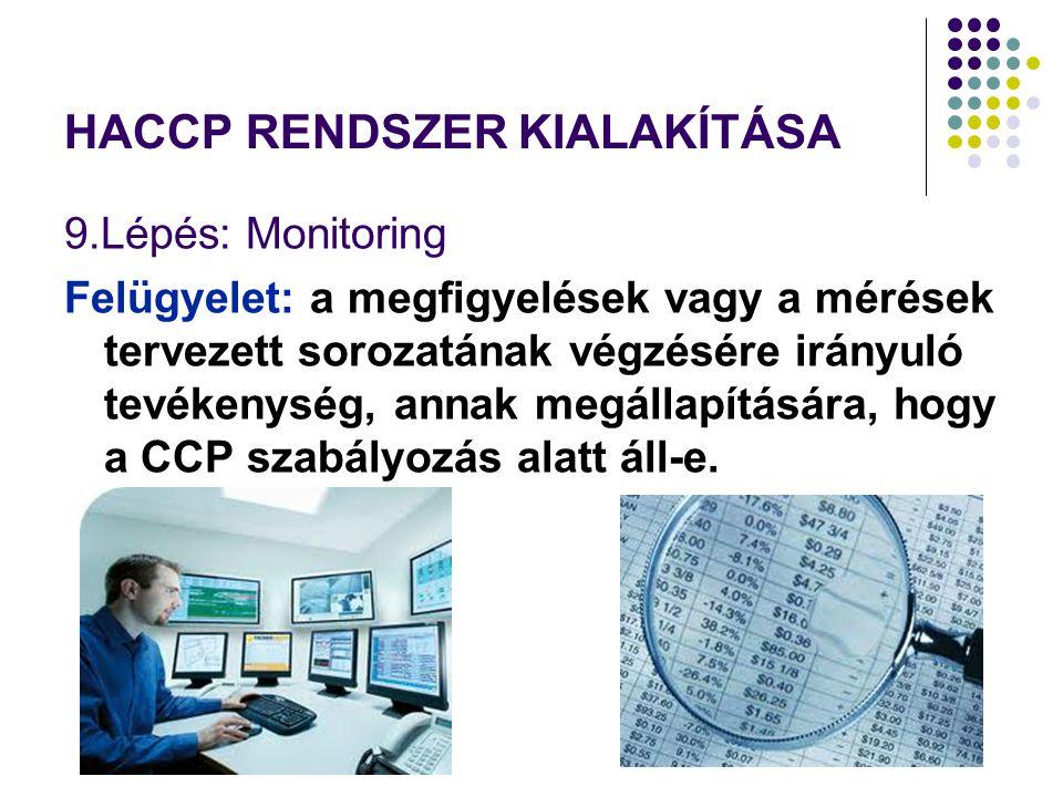HACCP RENDSZER KIALAKÍTÁSA 9.Lépés: Monitoring Felügyelet: a megfigyelések vagy a mérések tervezett sorozatának végzésére irányuló tevékenység, annak megállapítására, hogy a CCP szabályozás alatt áll-e.