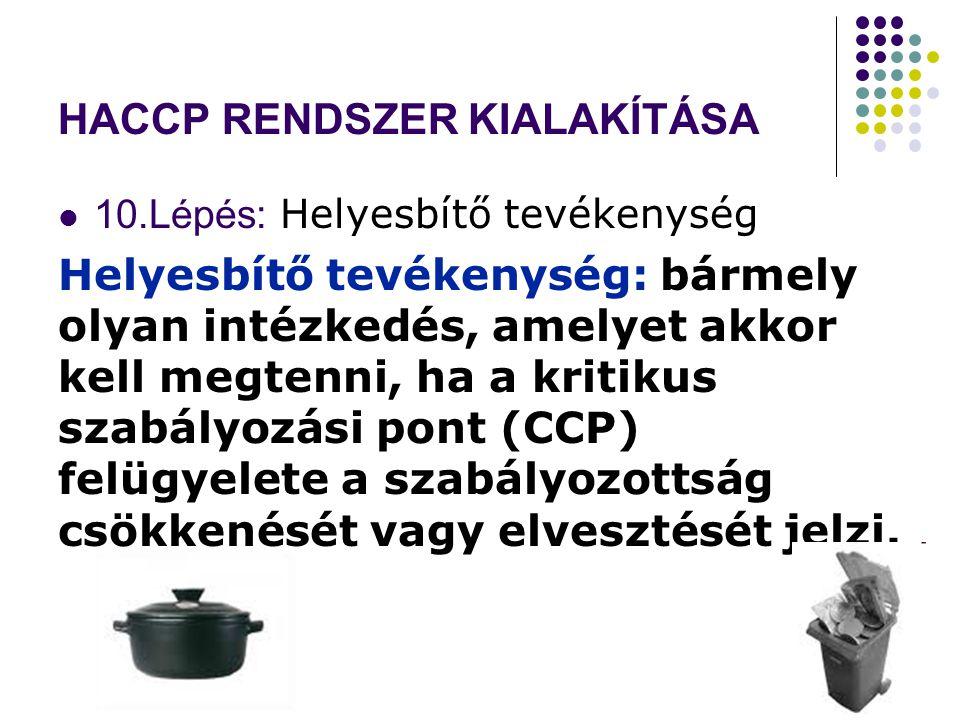 HACCP RENDSZER KIALAKÍTÁSA 10.Lépés: Helyesbítő tevékenység Helyesbítő tevékenység: bármely olyan intézkedés, amelyet akkor kell megtenni, ha a kritikus szabályozási pont (CCP) felügyelete a szabályozottság csökkenését vagy elvesztését jelzi.