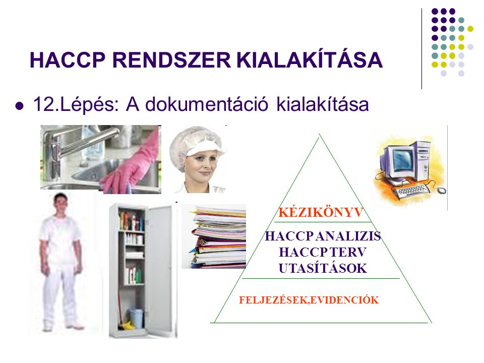 12.Lépés: A dokumentáció kialakítása HACCP RENDSZER KIALAKÍTÁSA HACCP ANALIZIS HACCP TERV UTASÍTÁSOK KÉZIKÖNYV FELJEZÉSEK,EVIDENCIÓK